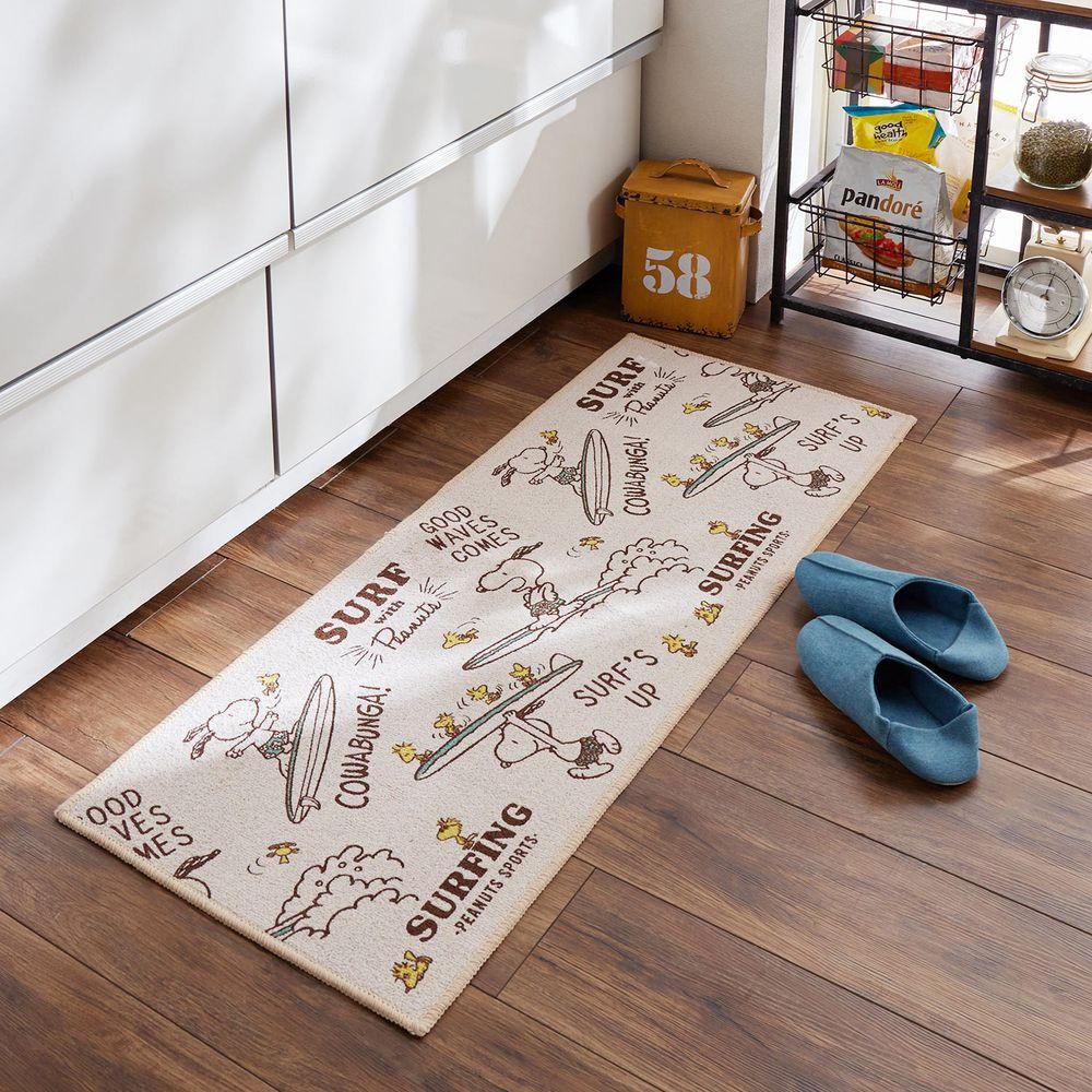 日本千趣會 - 史努比 長條型腳踏墊(廚房/臥室)-衝浪