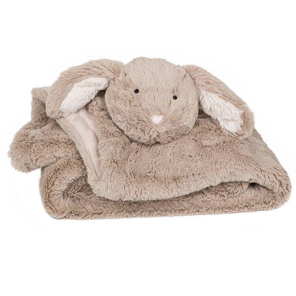 英國 JoJo Maman BeBe - 超細緻柔軟可愛小兔毛毯-卡其小兔