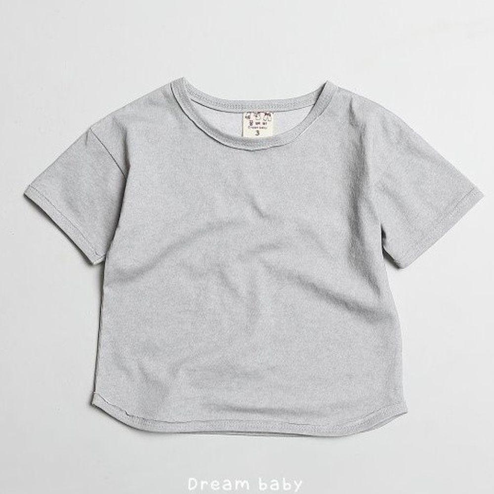 韓國製 - 水洗加工布寬鬆純棉T-淺灰