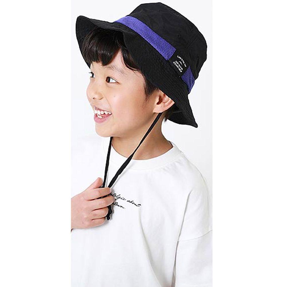 日本 devirock - 撥水加工抗UV可收納透氣兒童遮陽帽(附帽帶)-黑