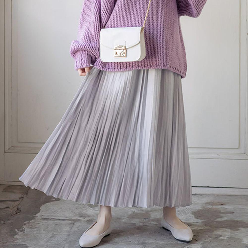 日本 GRL - 明星聯名款 光澤感緞面百褶長裙-灰