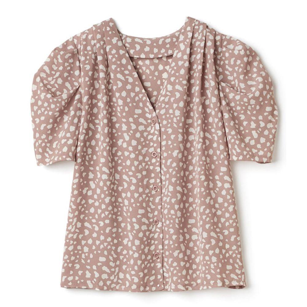 日本 GRL - 復古V領豹紋雪紡短袖襯衫-氣質杏