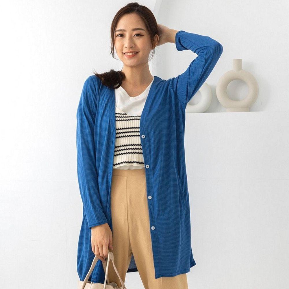 貝柔 Peilou - (新上市)日本水潤白抗UV保濕防曬長版罩衫-V領長版-海湛藍