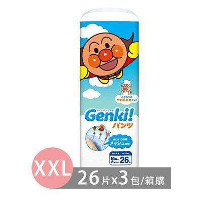 王子 Nepia - 日本境內限定Genki!麵包超人尿布-褲型 (XXL [13-25 kg])-26片x3包/箱(日本原廠公司貨 平行輸入)