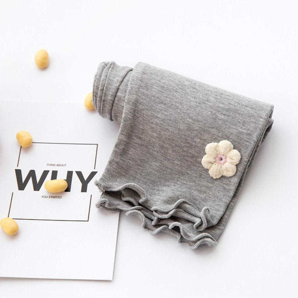 FANMOU - 七分內搭褲(莫代爾)-花朵-灰色
