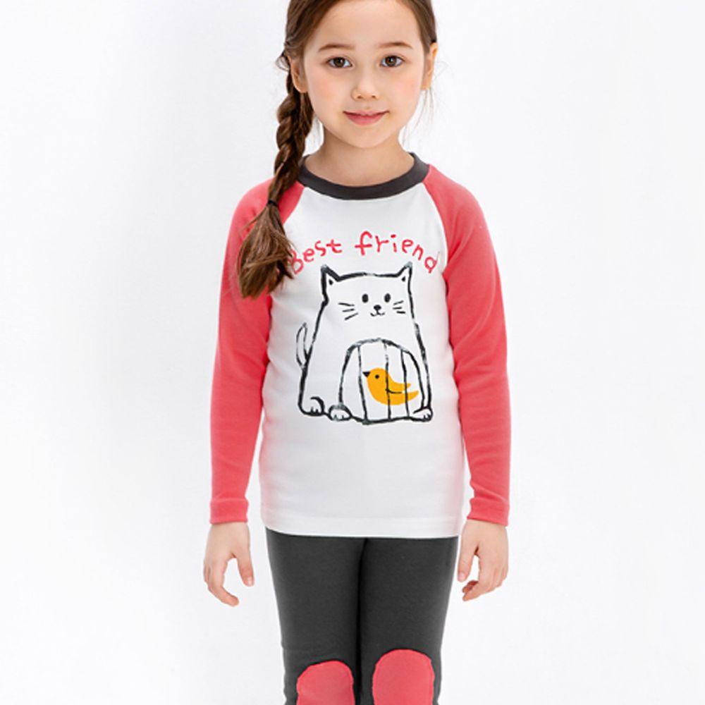 韓國 Mellisse - 韓製裏起毛無螢光棉長袖家居服-貓咪與小鳥-粉紅