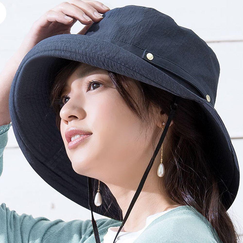 日本服飾代購 - 【irodori】抗UV可捲收遮陽帽(附防風帽帶)-海軍藍-純棉