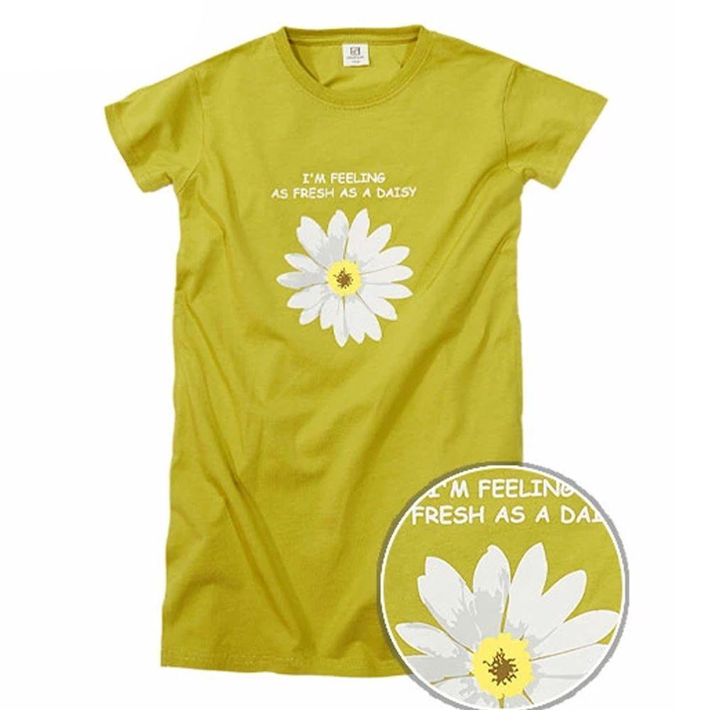 日本 devirock - 純棉印花短袖長版洋裝-小雛菊-萊姆綠