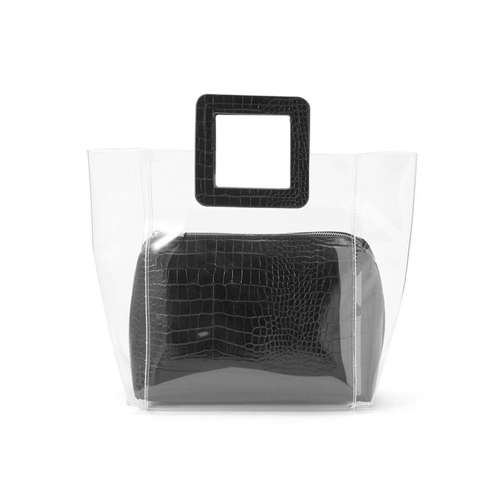 日本 GRL - 時尚異材質拼接透明子母包-鱷魚紋-時尚黑