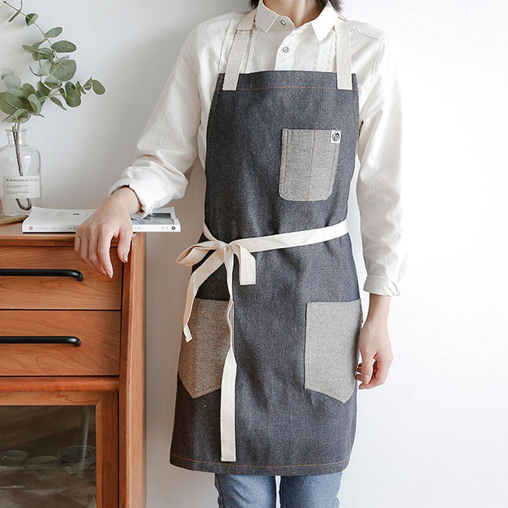 牛仔風前口袋圍裙-灰色
