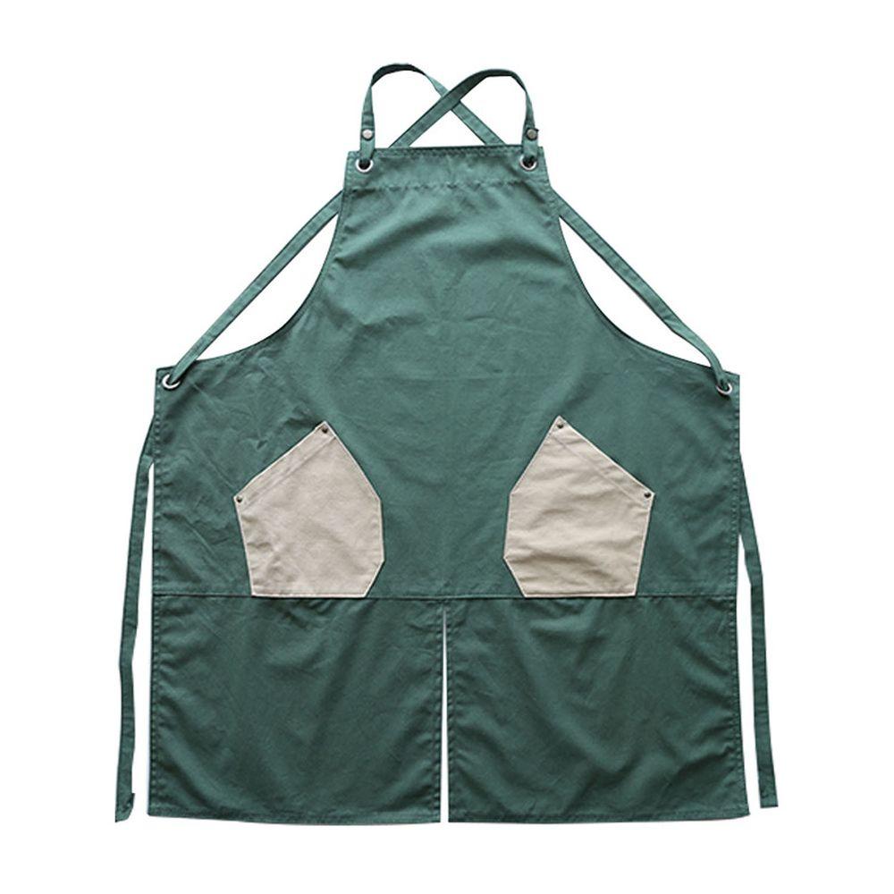 工業風撞色口袋圍裙-防水款-綠色
