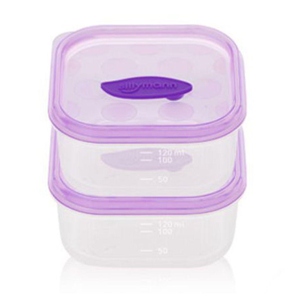 韓國 sillymann - 100%鉑金矽膠副食品保鮮盒-120ml(2入裝)-紫色-120ml