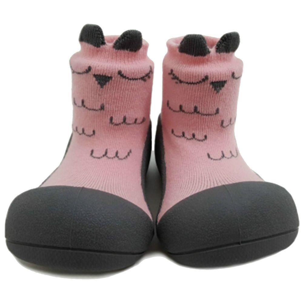 韓國 Attipas - 襪型學步鞋-粉色貓頭鷹