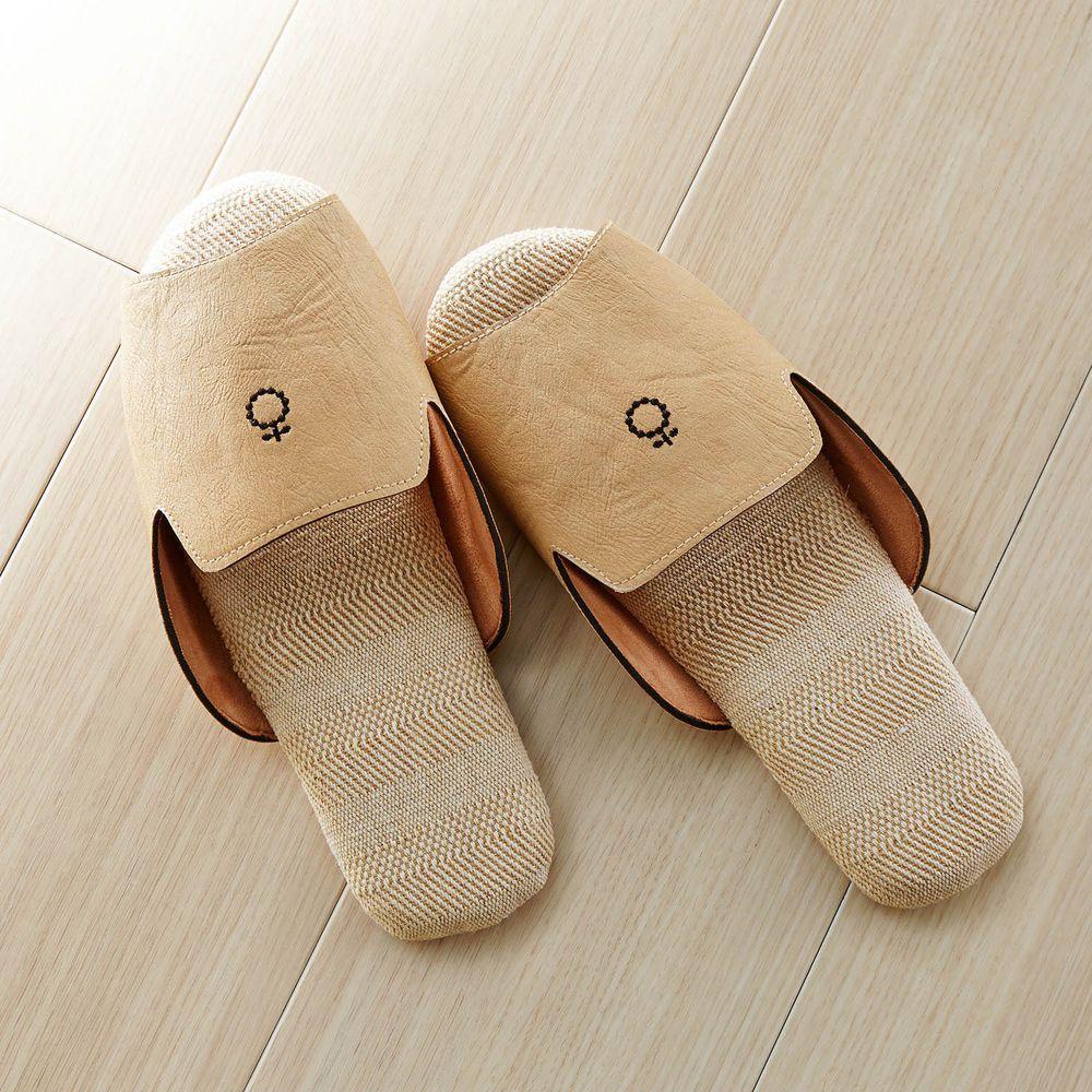 日本千趣會 - 仿皮刺繡棉麻室內拖-小花-杏