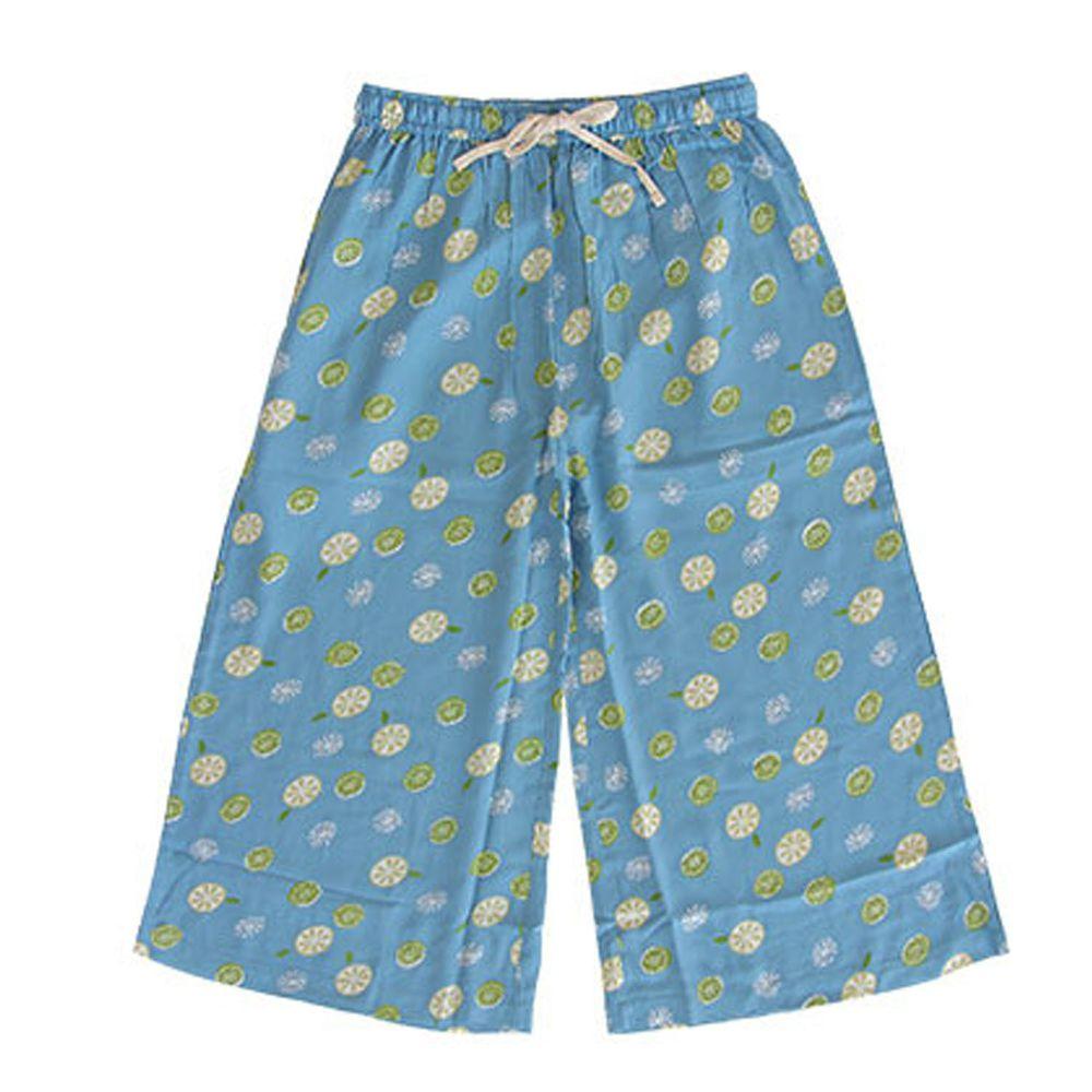 日本女裝代購 - COOL 涼感柔軟舒適家居長褲/睡褲-檸檬-水藍 (M-L Free)
