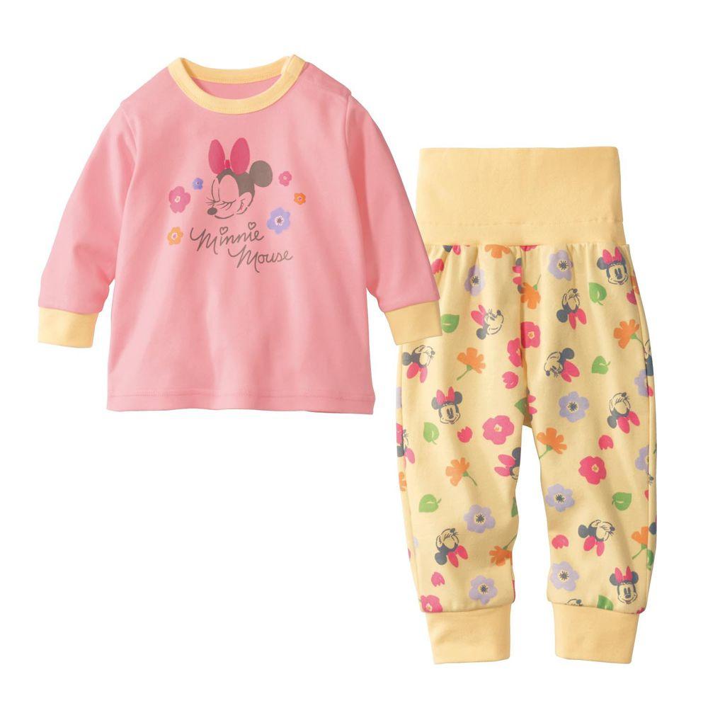 日本千趣會 - 迪士尼小童純棉腹卷長袖家居服/睡衣-花朵米妮-粉紅X黃
