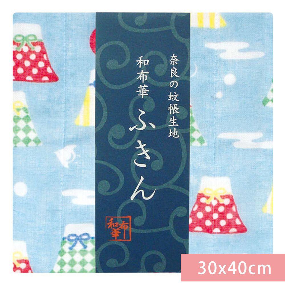 日本代購 - 【和布華】日本製奈良五重紗 方巾-富士山御守-水藍 (30x40cm)