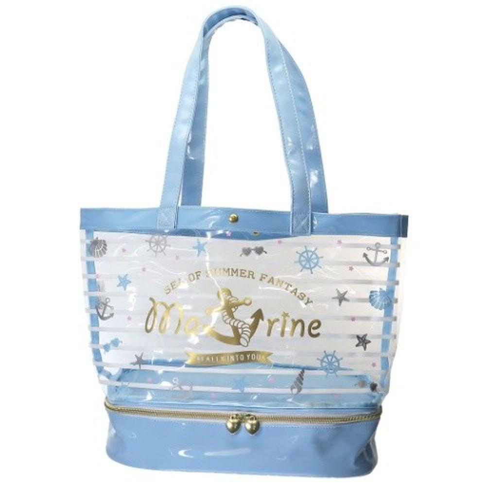 日本服飾代購 - 上下分層透明PVC肩背包-水手條紋-藍