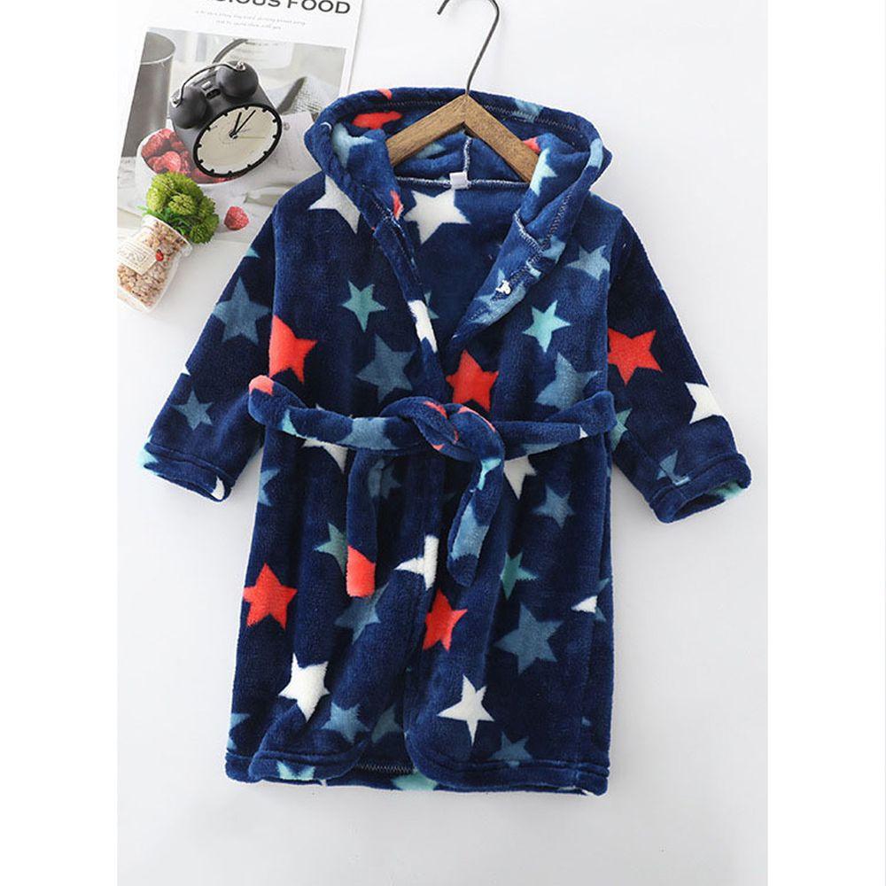 超柔軟珊瑚絨浴袍睡衣-深夜星星