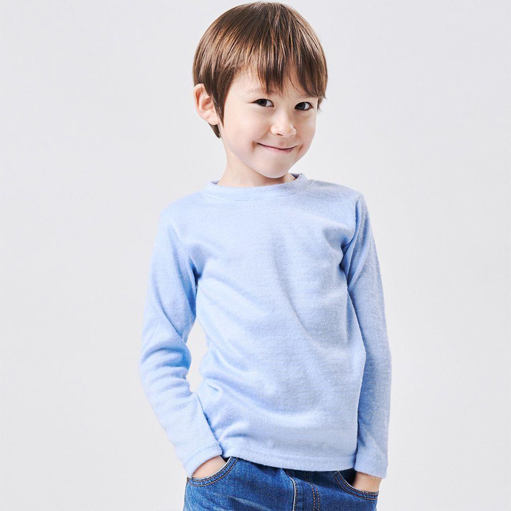GIAT - 兒童雙刷毛羊絨保暖衣-淺藍
