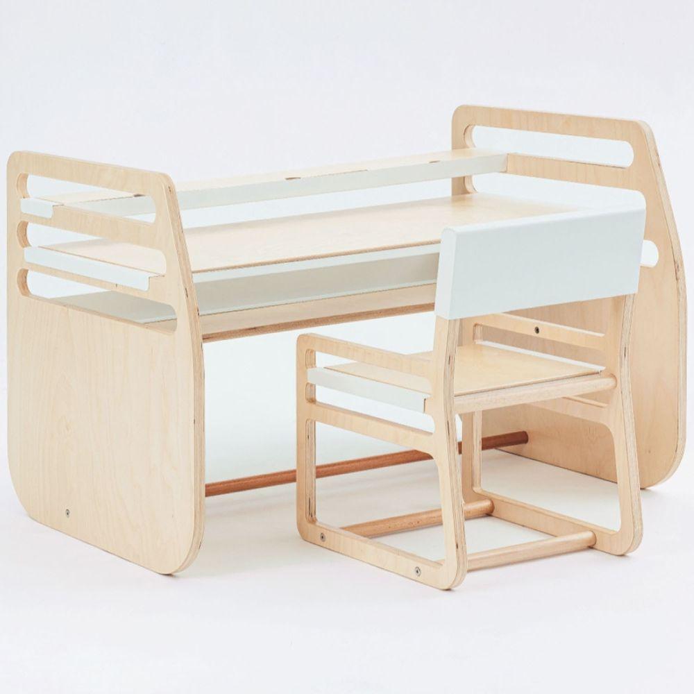 走走家具 - 兒童成長桌椅(含一桌一椅)-長版-清新白 (108.3 / 64 / 69 (cm))