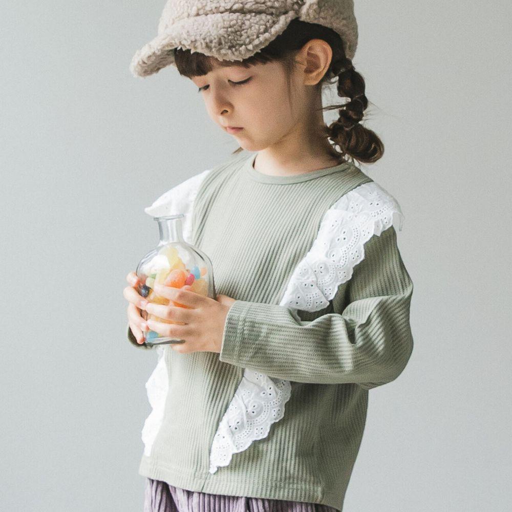 日本 PAIRMANON - 雙荷葉蕾絲撞色拼接鬆餅紋長袖上衣-薄荷