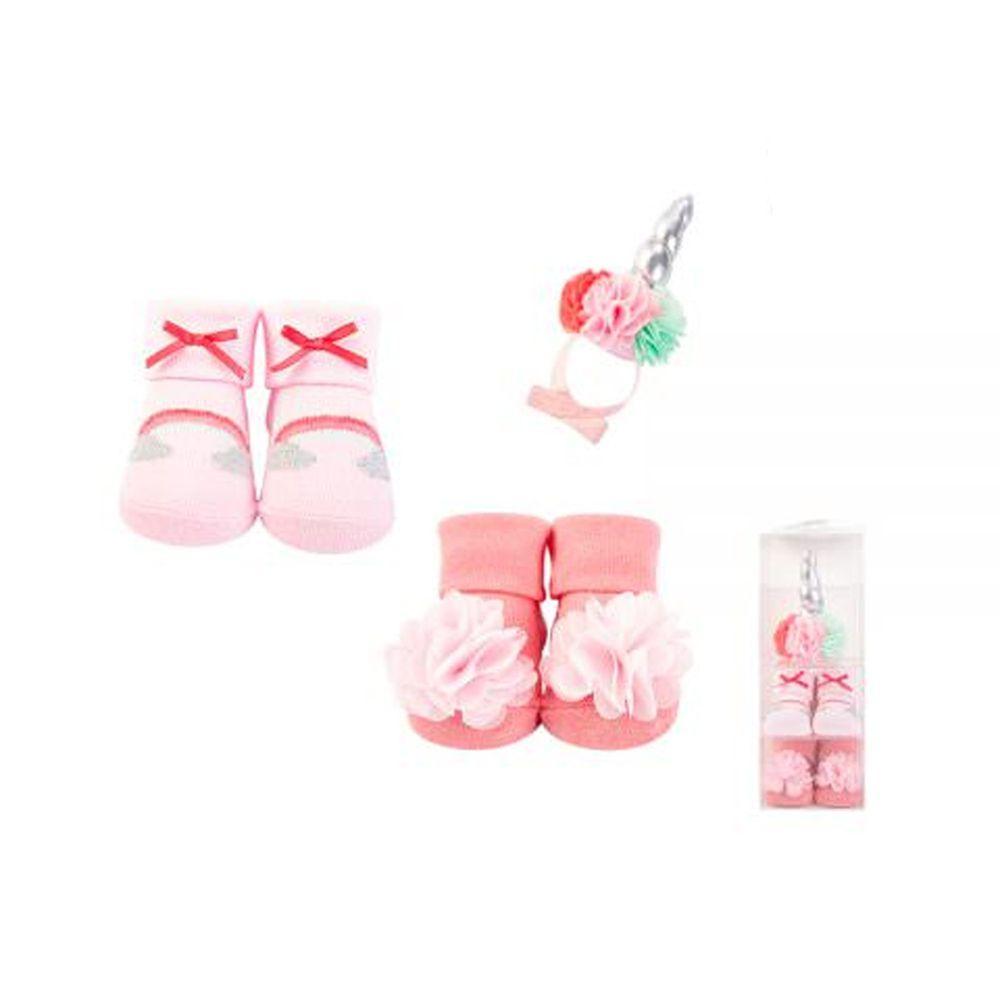 美國 Luvable Friends - 嬰兒襪/寶寶襪/初生襪 +生日帽禮盒組(共三入)-紅蝴蝶結 (0-9M)