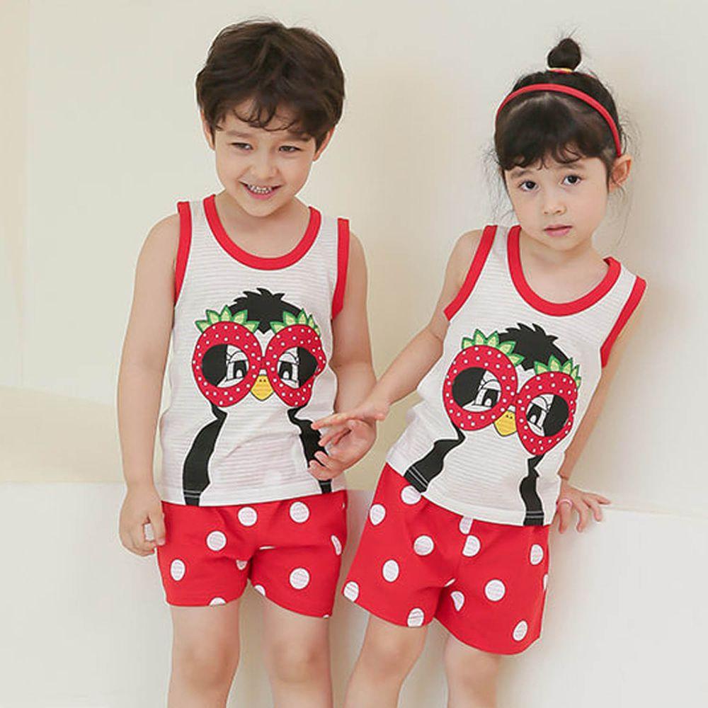 韓國 Puco - 有機棉透氣無袖家居服-眼鏡企鵝