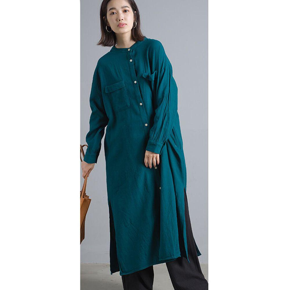日本女裝代購 - 2way棉麻長袖洋裝/襯衫外套-藍綠