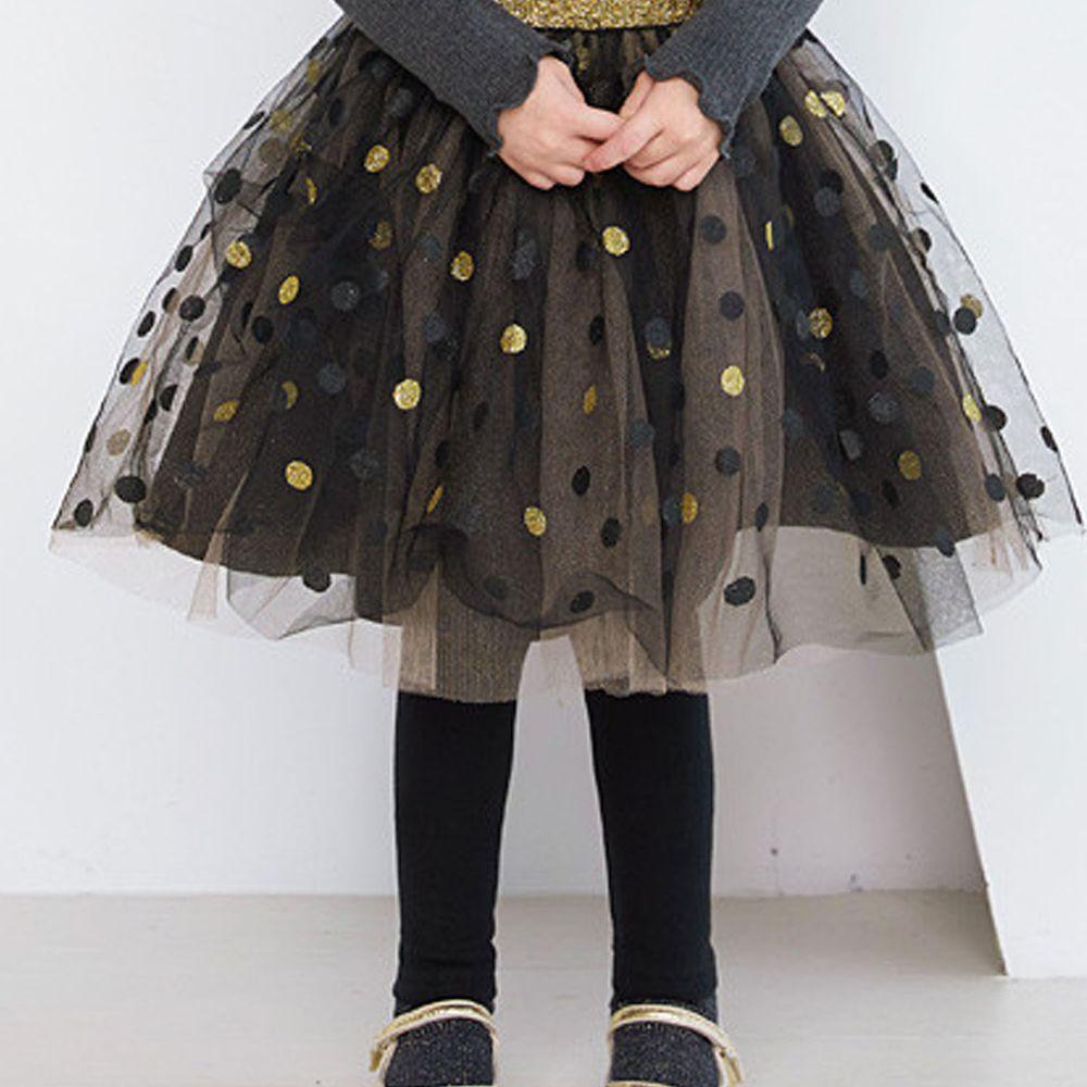 韓國 WALTON kids - 波點網紗褲裙-黑