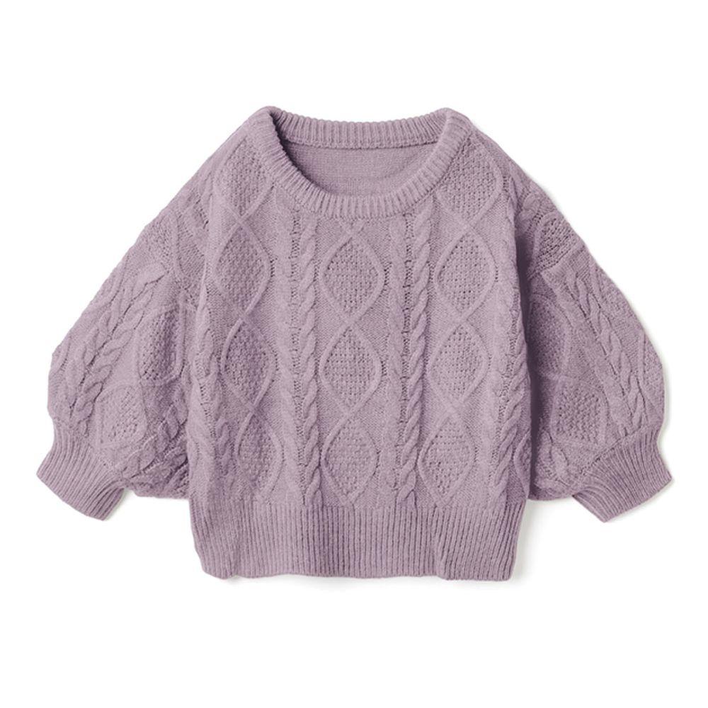 日本 GRL - 編織紋美腰綁帶寬版七分袖針織上衣-紫