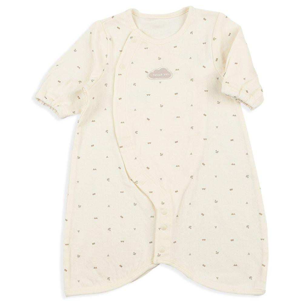 akachan honpo - 長袖舒適連身衣-花紋-象牙白色 (50-60cm)