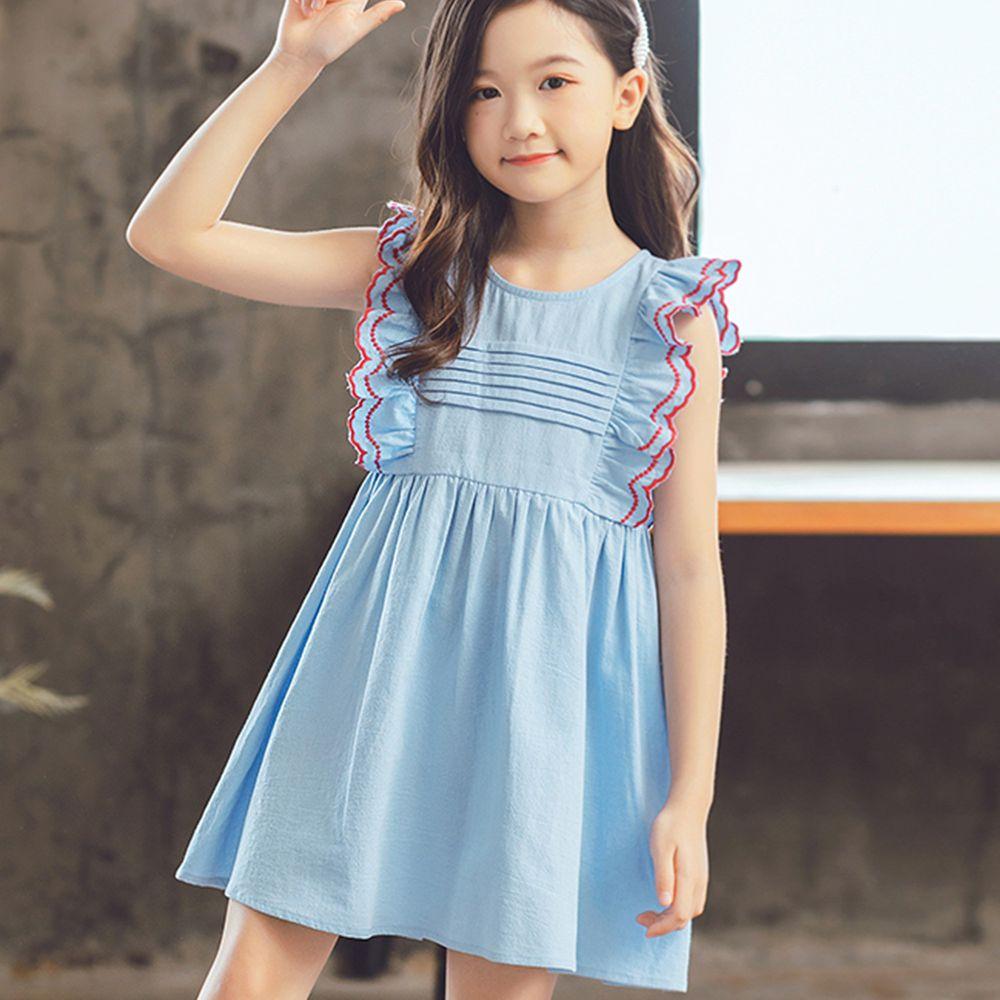 TOUNGIEE - 壓褶淺藍蝴蝶袖洋裝