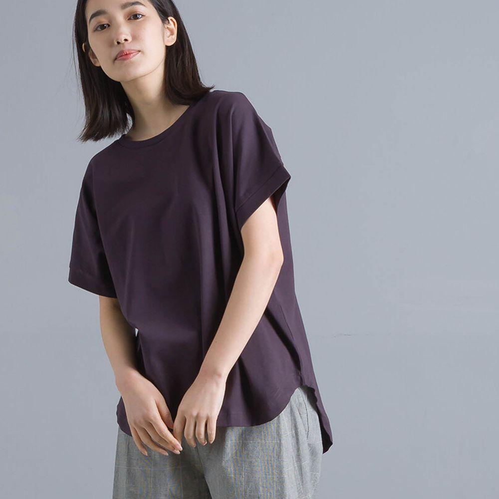 日本 OMNES - 前短後長天竺棉修身短T-深灰