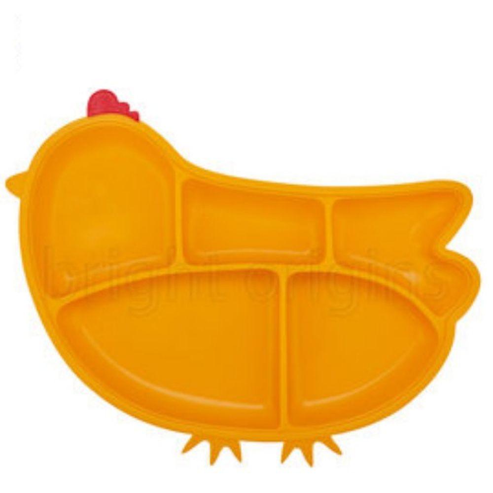 美國Innobaby - 歡樂小雞矽膠防滑餐盤-橘黃