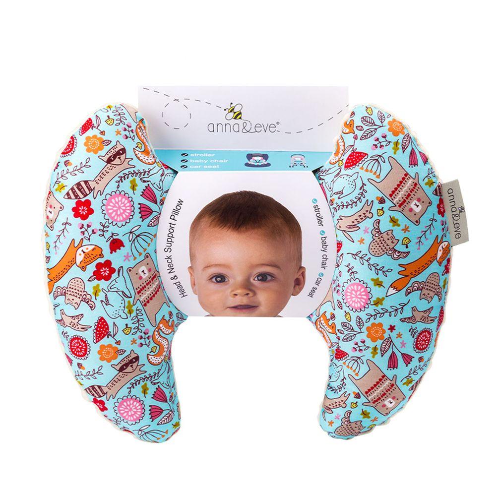 Anna&Eve - 美國嬰幼兒頭頸支撐保護枕-藍色動物俱樂部
