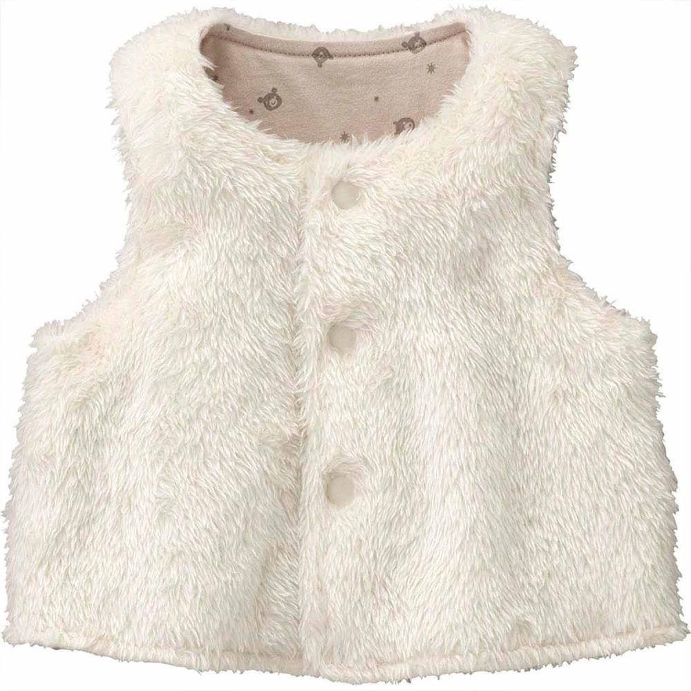 日本 Combi - mini系列-珊瑚绒雙面穿保暖背心-雪花白