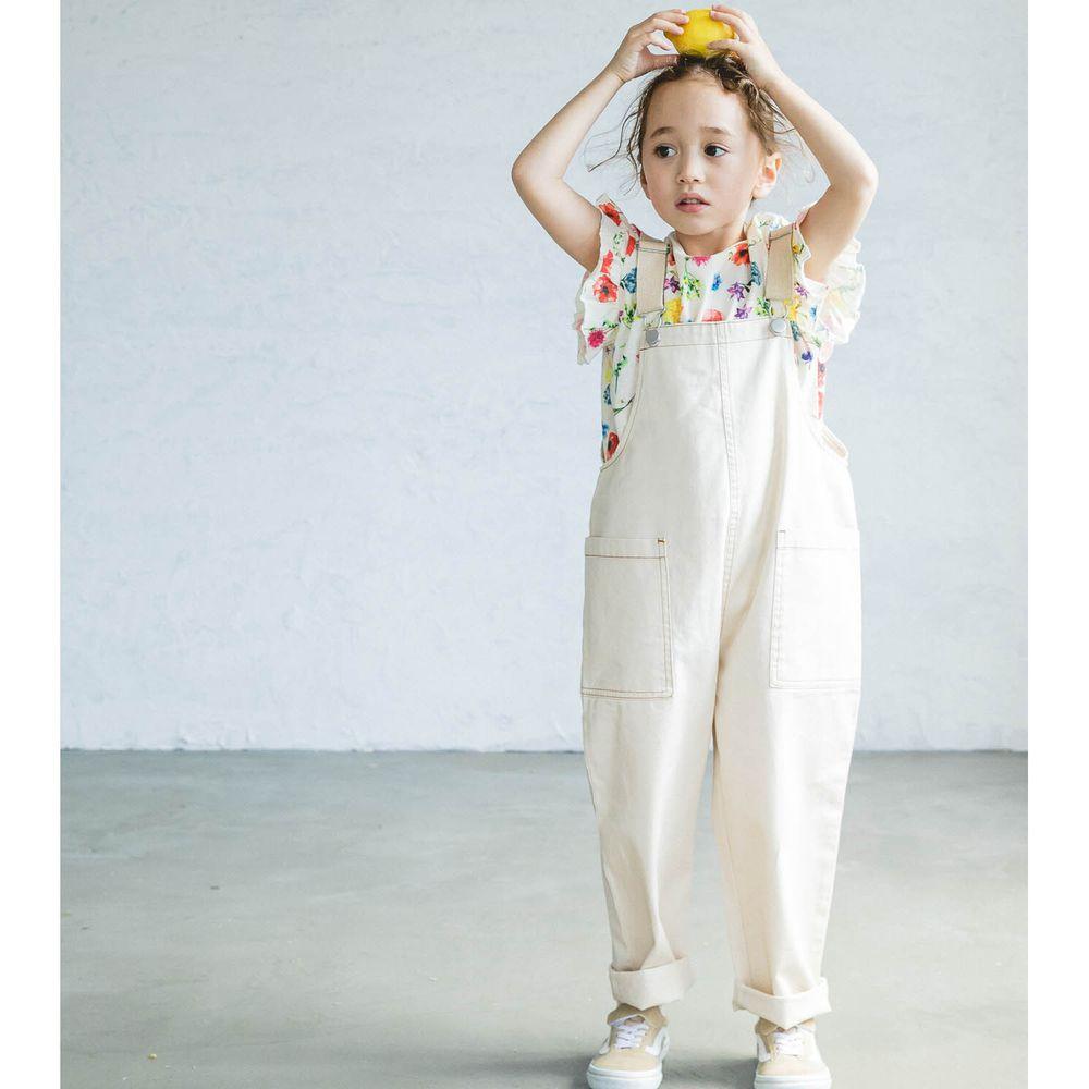 日本 PAIRMANON - 純棉雙口袋吊帶褲-象牙白