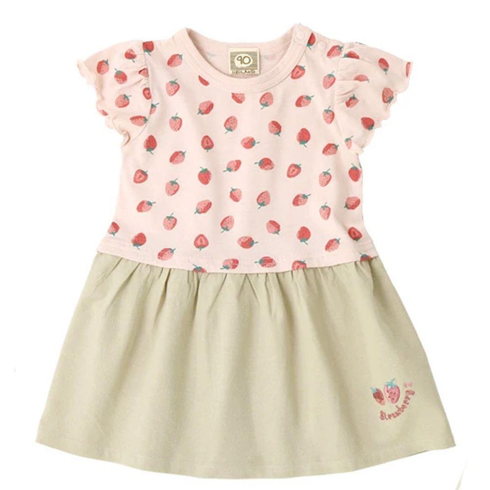 日本 ZOOLAND - 拼接短袖洋裝-滿版草莓-粉X杏