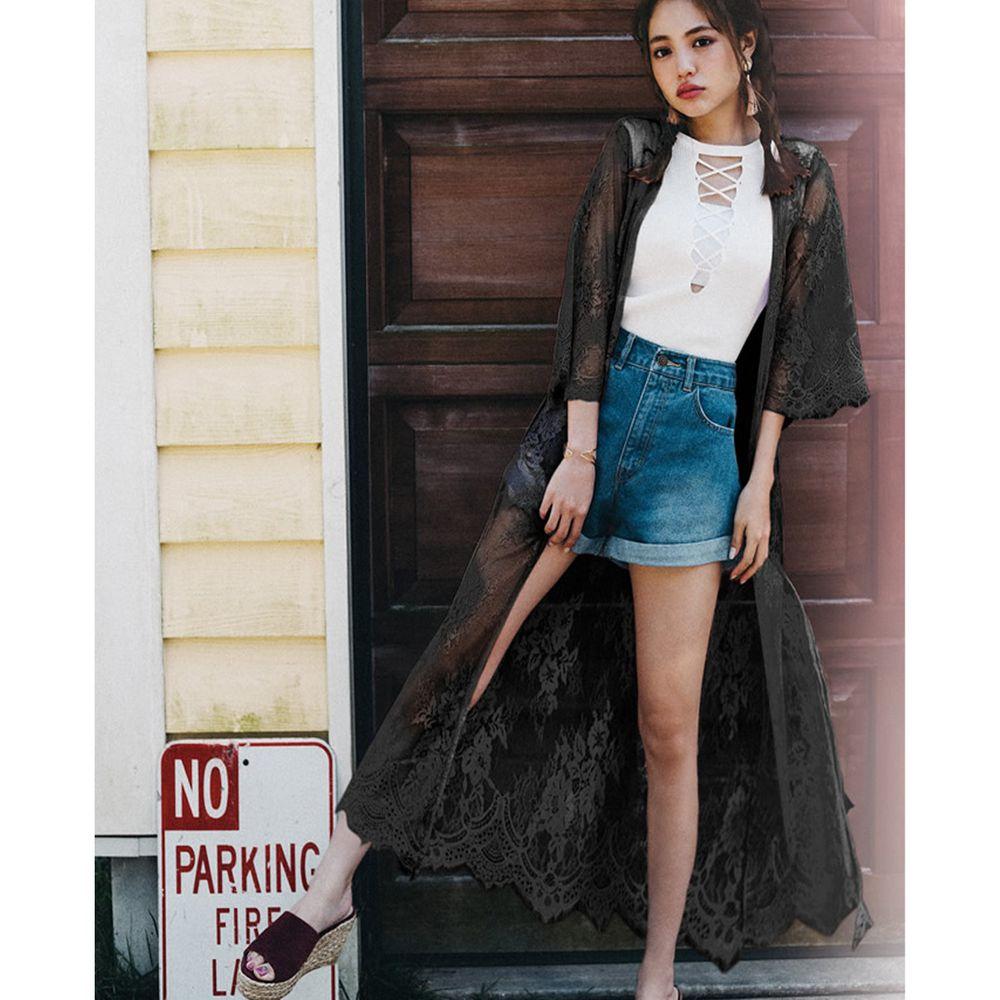 日本 GRL - 仙氣蕾絲刺繡七分袖罩衫-時尚黑