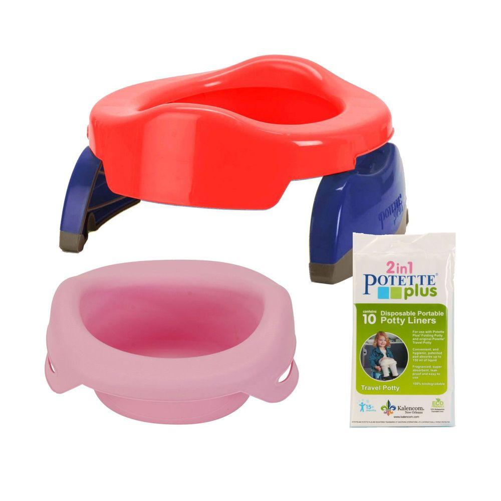 美國 Potette Plus - 可攜式馬桶-紅色+摺疊式家用防漏盆-粉紅色+拋棄式防漏袋10入裝)