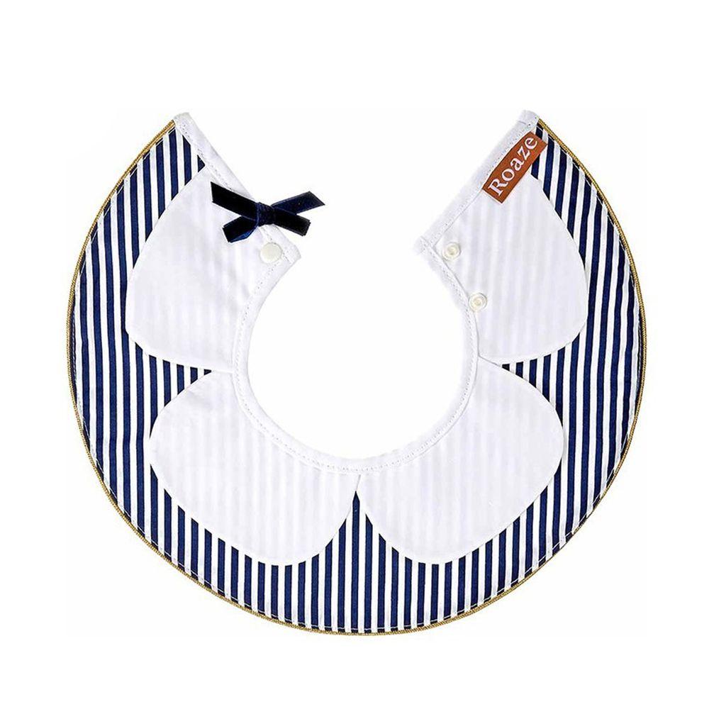 柔仕 - 典雅款圍兜-花領條紋