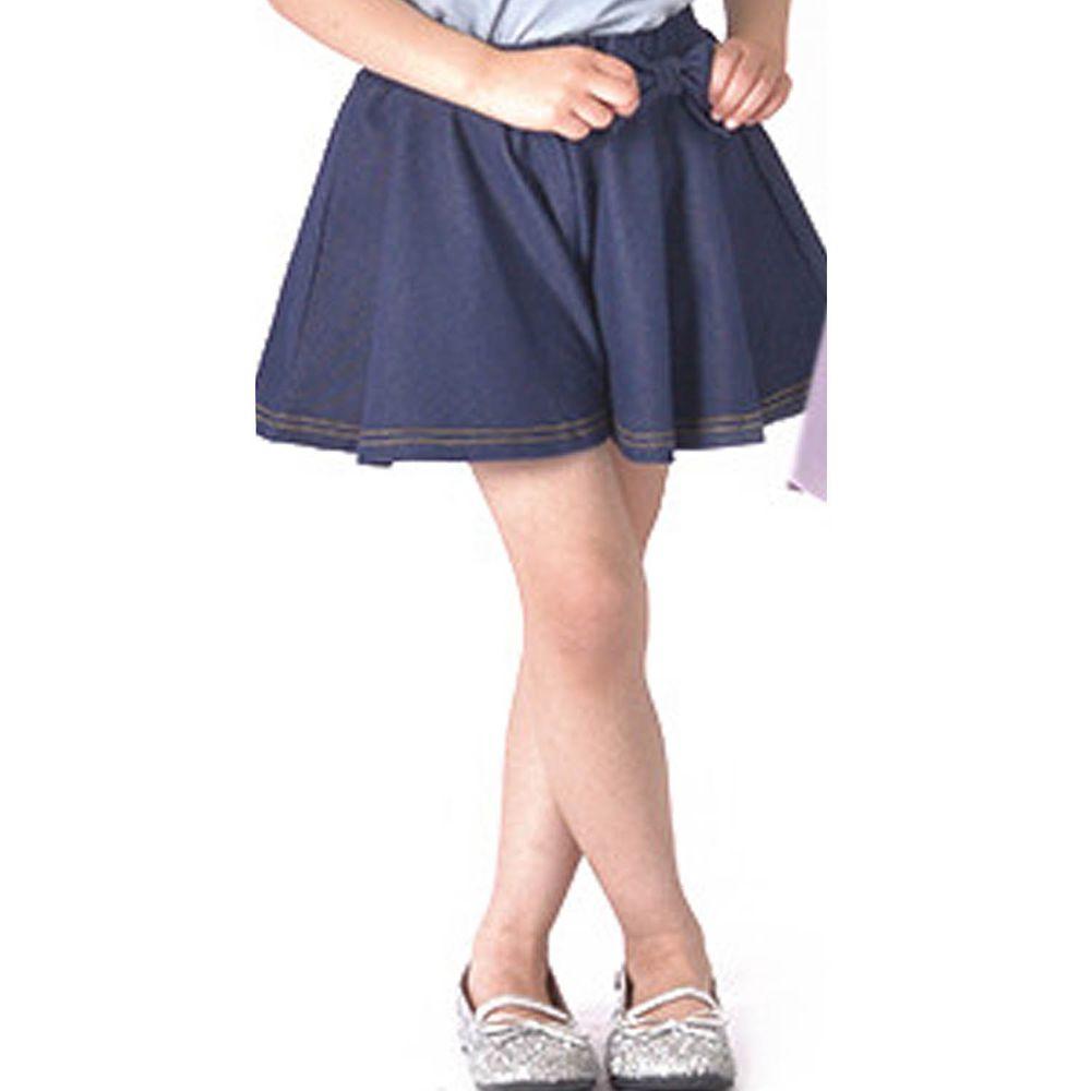 日本 TORIDORY - 蝴蝶結傘狀褲裙-丹寧深藍