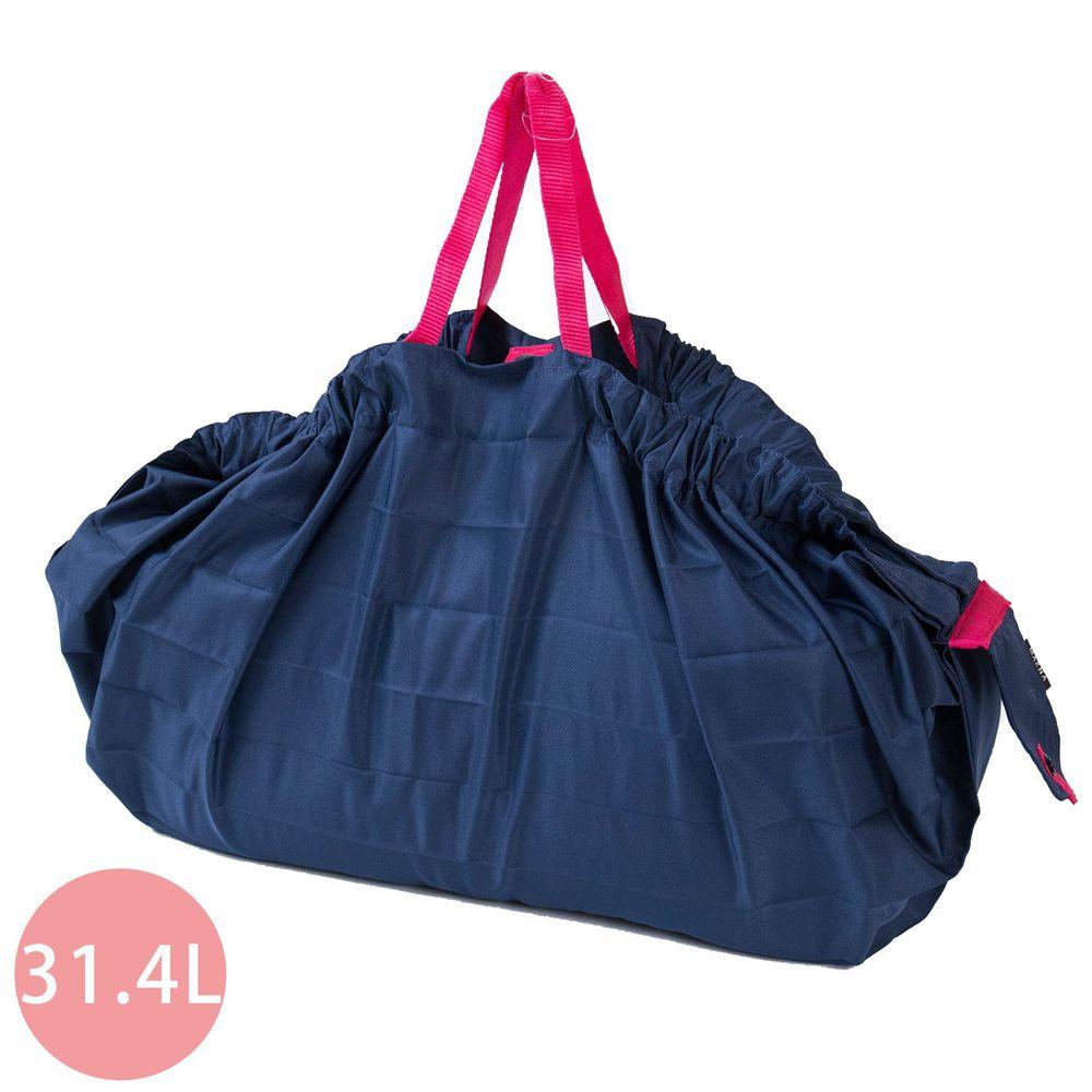 日本 MARNA - Shupatto 秒收摺疊購物袋(可掛購物籃)-海軍藍 (L(50x38cm))-耐重15kg / 31.4L