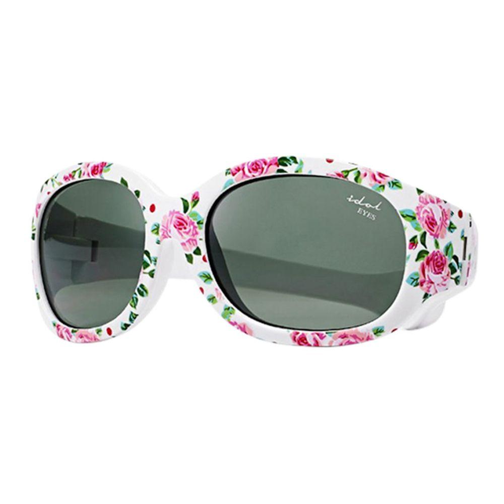 Idol EYES - 兒童太陽眼鏡-優雅小花系列Flowers-白底紅花 (2-5歲兒童款)-有可拆式鬆緊頭帶