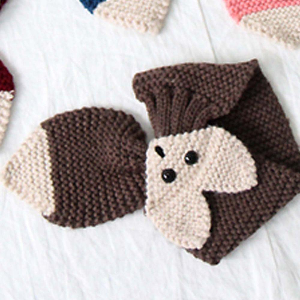 韓國 Babyblee - 狐狸針織圍巾-咖啡 (FREE)