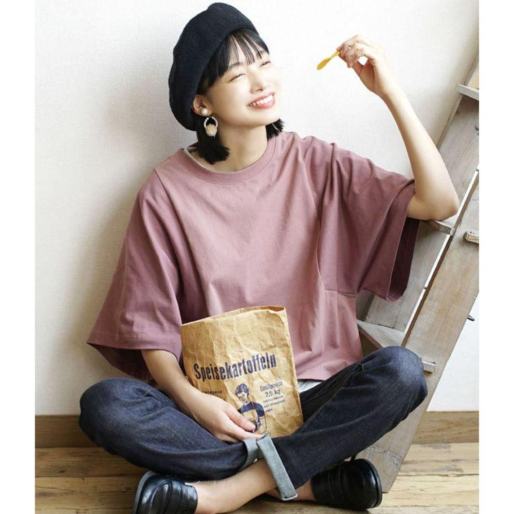 日本 zootie - 抗透汗 撞色顯瘦設計寬版五分袖上衣-灰粉