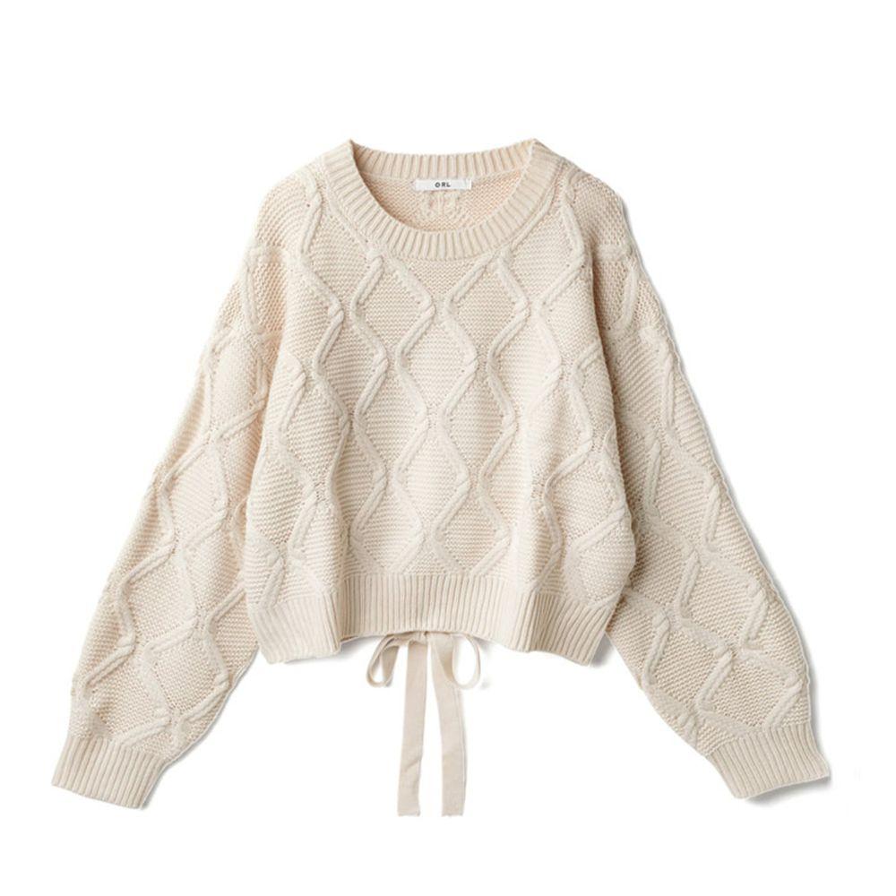 日本 GRL - 螺旋針織後腰蝴蝶結設計針織上衣-象牙白