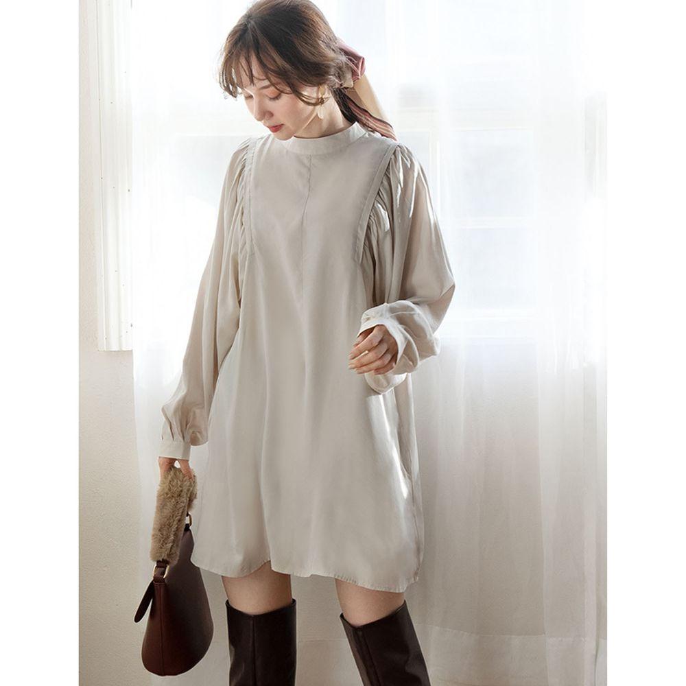 日本 GRL - 2way蝴蝶結短版長袖洋裝-杏