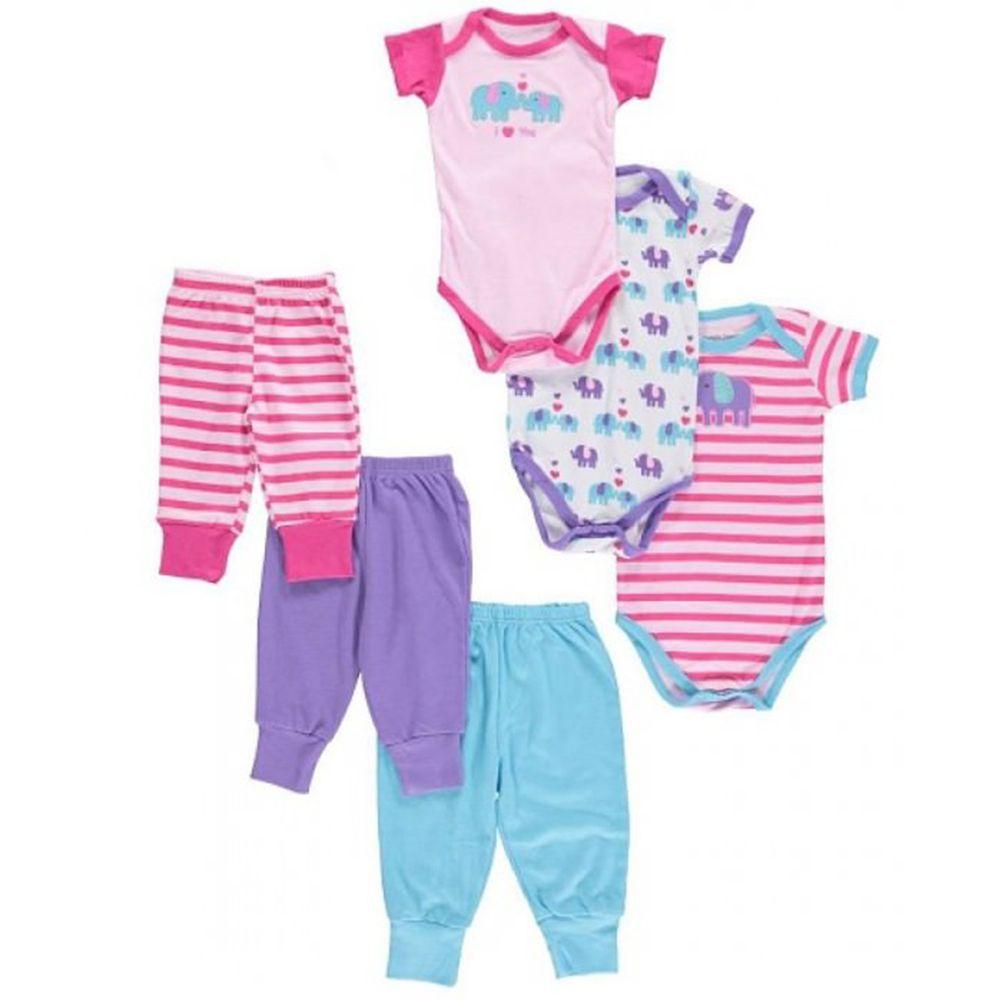 美國 Luvable Friends - 嬰幼兒包屁衣與長褲6入禮盒組-粉色親親大象 (0-9M)